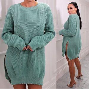 Teal Oversized Split Side Sweater